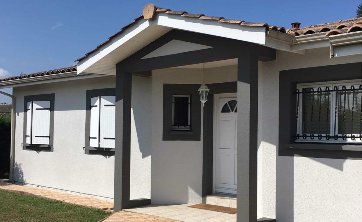 Maison plain pied à Sadirac après changement de couleur et traitement des fissures