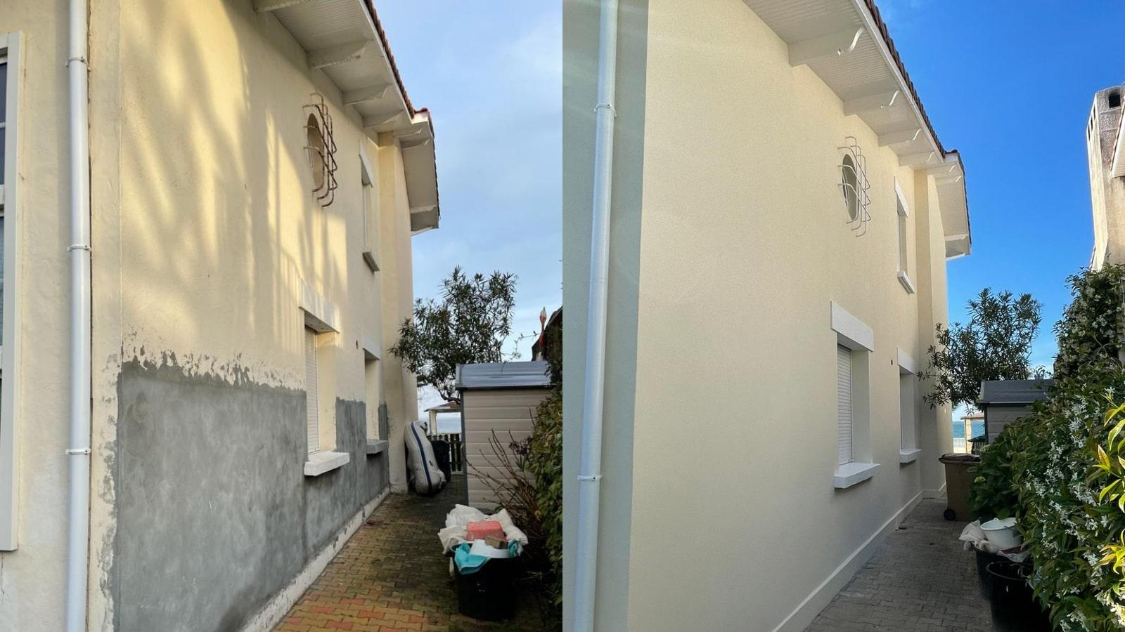 Avant Après de la reprise de maçonnerie de cette villa d'Arcachon